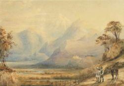 """Thomas Ender(1793 - 1875)""""Wetterstein bei Grindelwald""""Aquarell auf PapierSigniert, gerahmt17 x 25"""