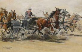 """Carl Franz Bauer(1879 - 1954)""""Pferdekutschenrennen""""1913Mischtechnik auf PapierSigniert und"""