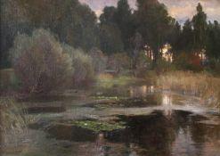 """Hugo Darnaut(1851 - 1937)""""Seerosen""""Öl auf Leinwand auf PlatteSigniert, gerahmt70 x 100 cm- - -22."""