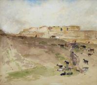 """Marie Egner(1850 - 1940)""""Ziegenherde""""Aquarell auf PapierSignaturstempel, gerahmt19 x 22 cm- - -22.00"""