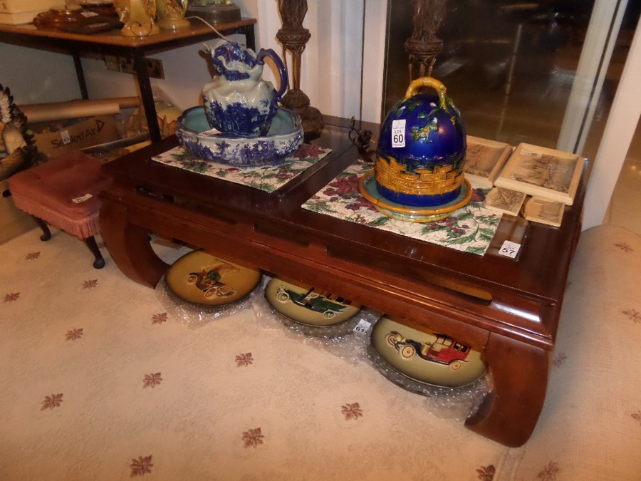 Lot 57 - LARGE MAHOGANY AND GLASS COFFEE TABLE