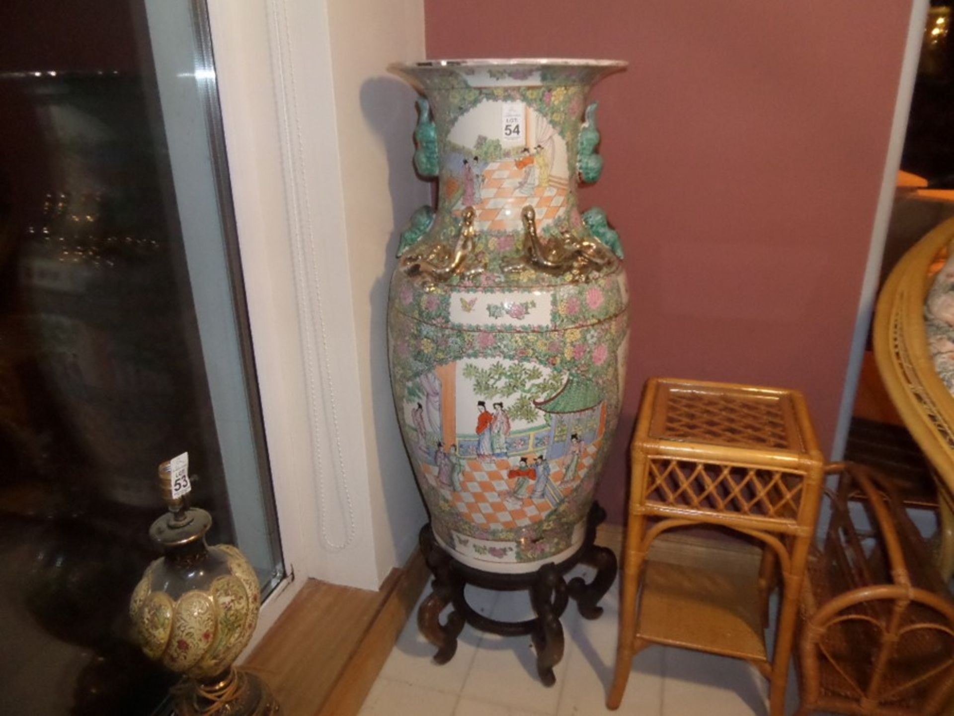 Lot 54 - OVERSIZED CHINESE VASE ON WOODEN STAND