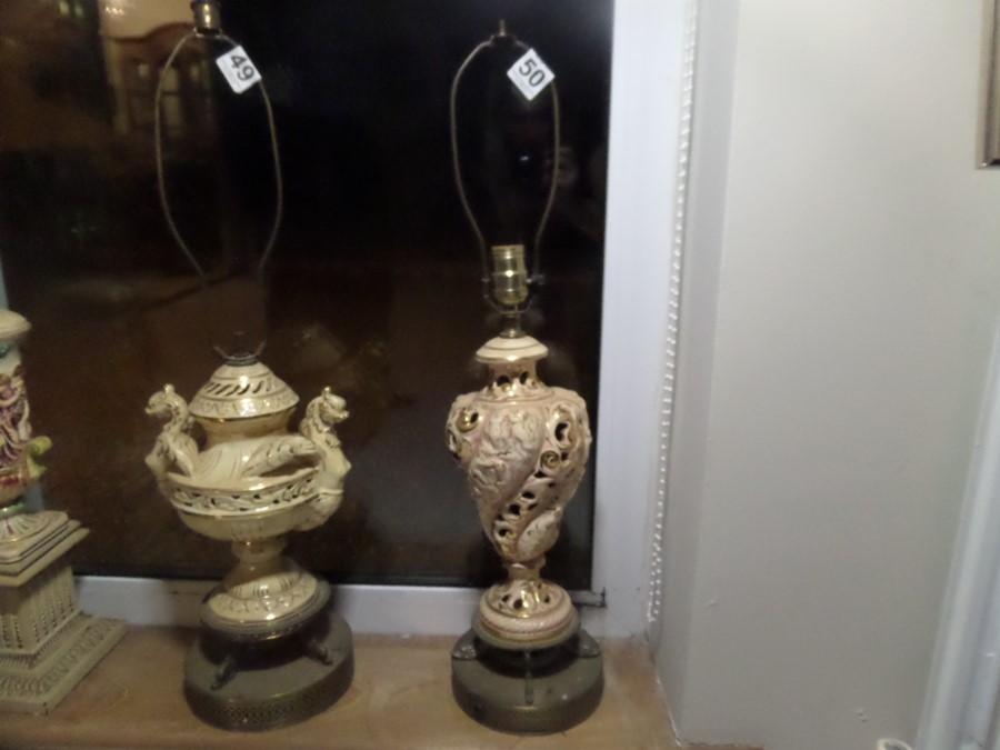 Lot 50 - TALL DELPH TABLE LAMP