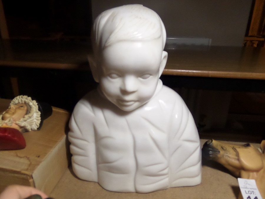 Lot 12 - HEAVY MARBLE CHILD BUST