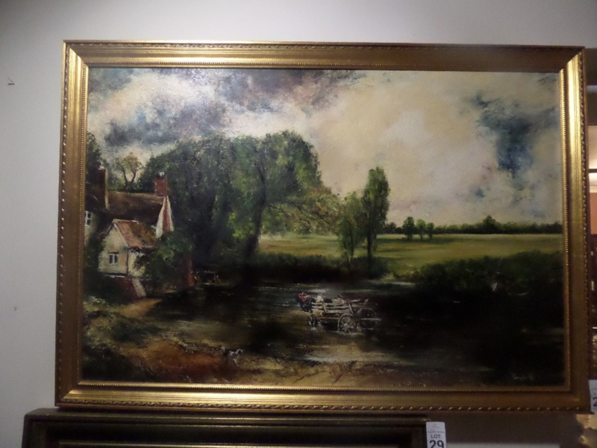 Lot 28 - GILT FRAMED CROSSING THE RIVER PAINTING SIGNED JOHNSTON '85