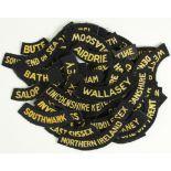 Lot 260 - Cloth Badges: Civil Defence WW2 Place Names embroidered felt shoulder title badges in excellent