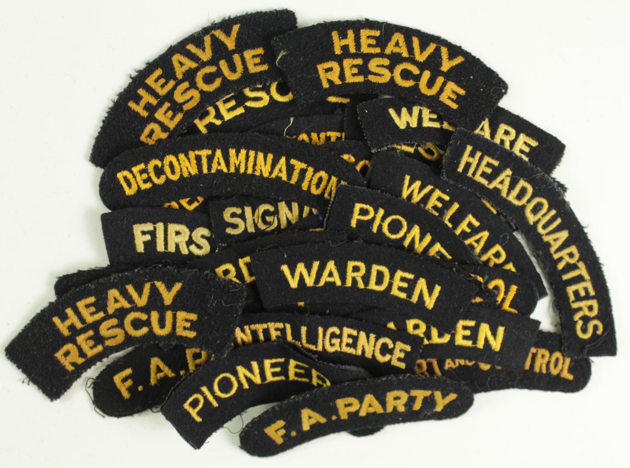 Lot 259 - Cloth Badges: Civil Defence WW2 embroidered felt shoulder title badges - Job Titles including
