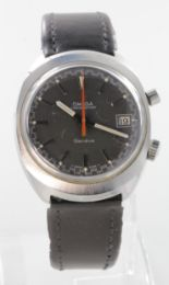"""Lot 308 - Gents Omega """"Chronostop"""" wristwatch, circa 1972. The black dial with silvered baton markers and date"""