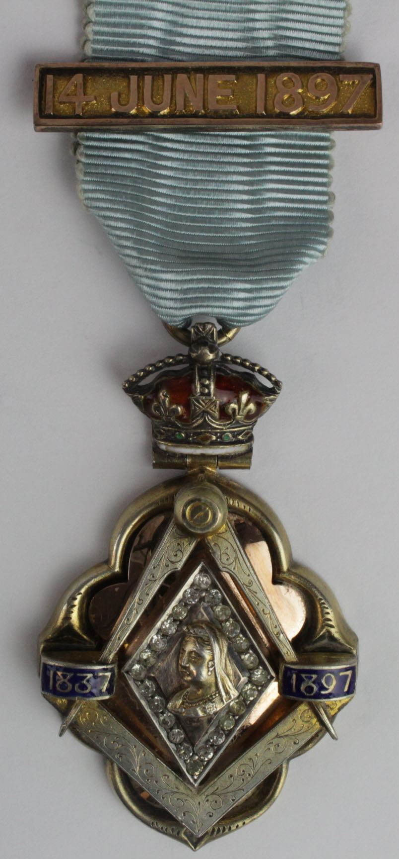 Lot 1121 - Masonic silver gilt & brilliants 1897 Queen Victoria's Diamond Jubilee medal with 14th June 1897