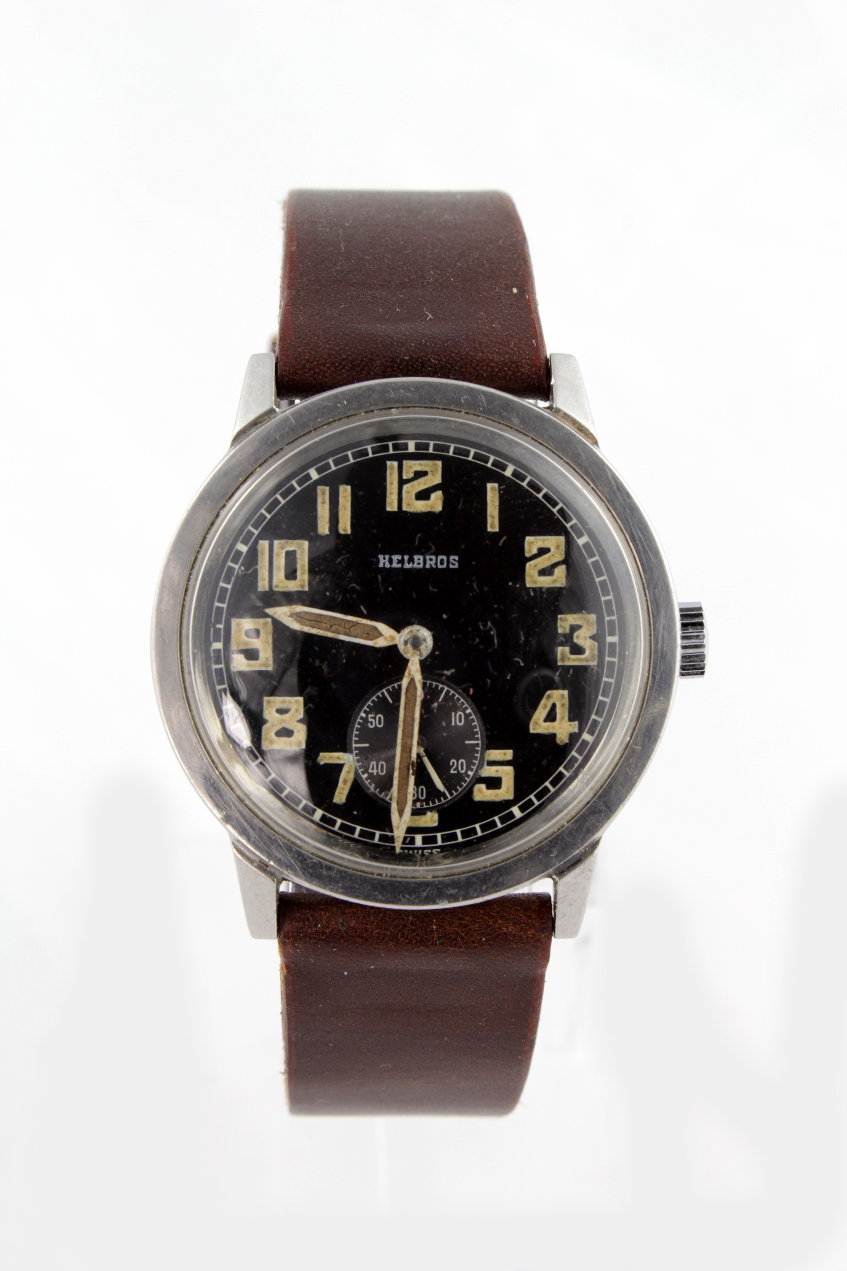 Lot 541 - Gents Helbros stainless steel cased wristwatch circa early 1940s. This appears never to have been