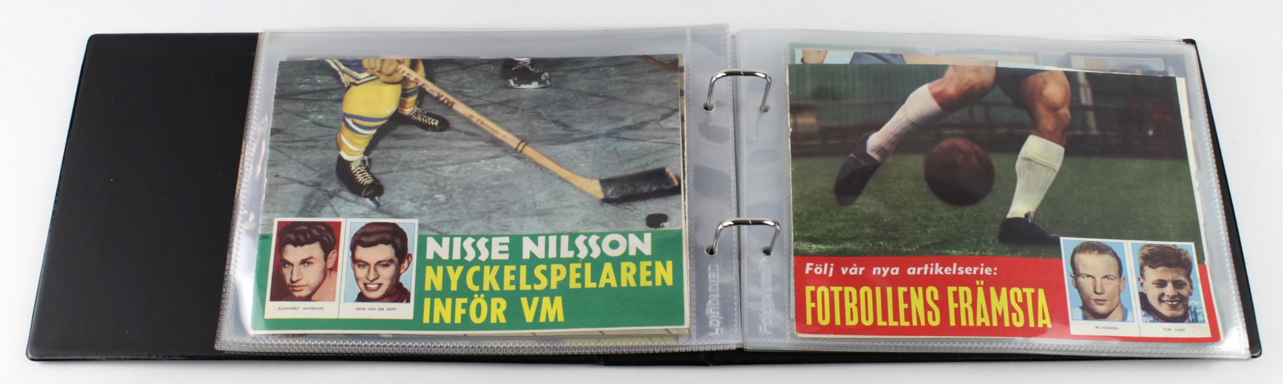 Lot 3185 - Album containing approx 200 boxing cards issued in Sweden, some uncut from magazines as issued,