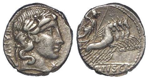 Lot 2268 - Roman Republican silver denarius, struck 90 B.C., of C.Vibius C.f.Pansa, obverse:- Laureate head