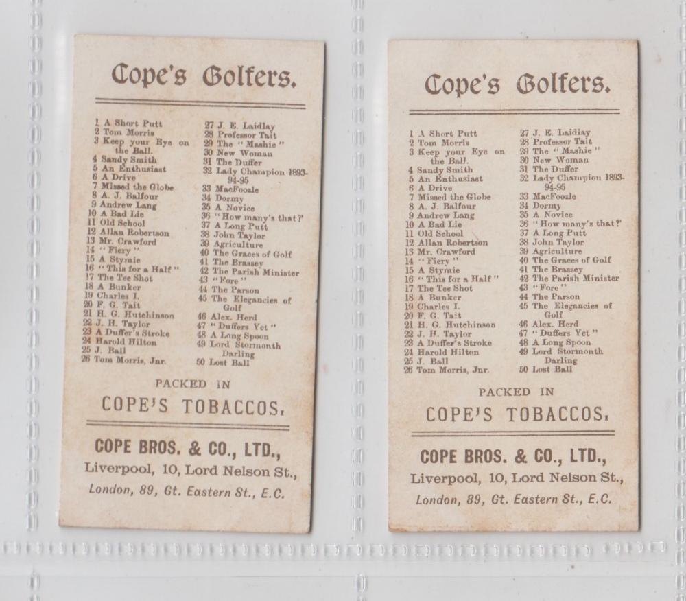 Lot 261 - Cigarette cards, Cope's, Cope's Golfers, two cards, no 25 'J. Ball' & no 26 'Tom Morris, Jnr.' (