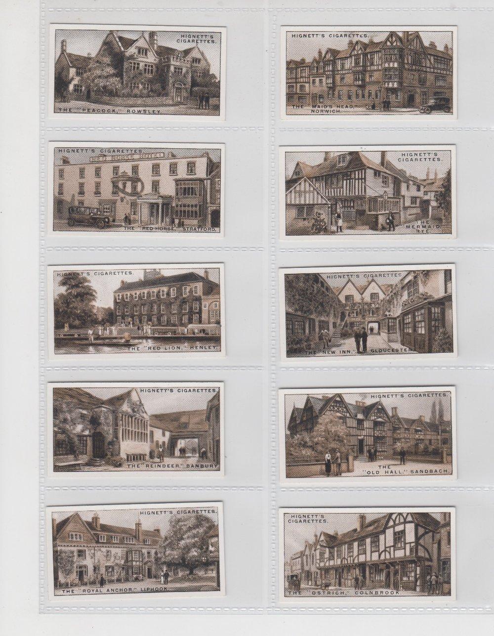Lot 214 - Cigarette cards, Hignett's, Celebrated Old Inns (set, 50 cards) (vg/ex)