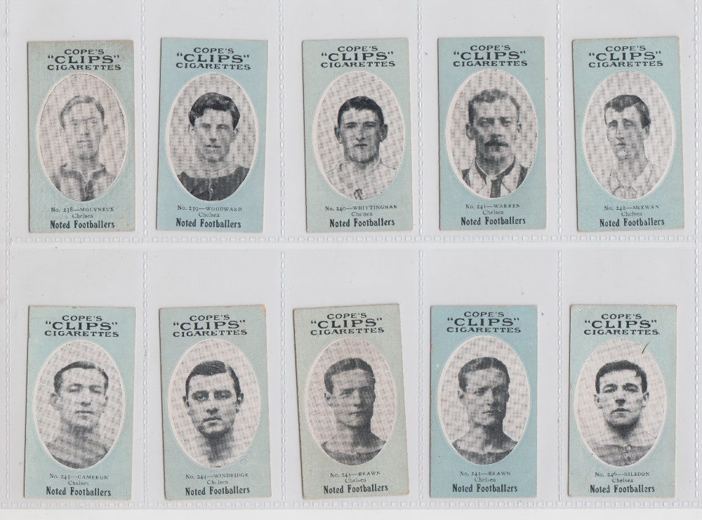 Lot 185 - Cigarette cards, Cope's Noted Footballers (Clips, 282 Subjects), Chelsea, 9 cards, nos 238-246