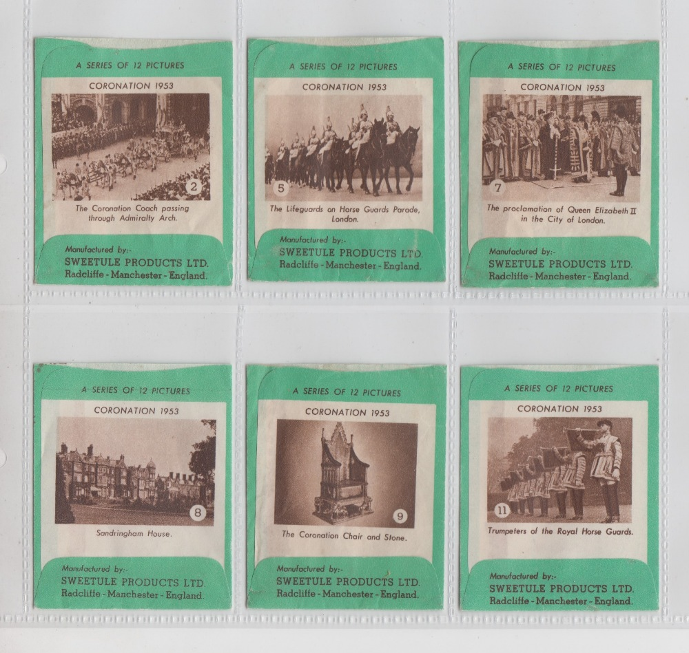 Lot 246 - Trade Issue, Sweet Cigarette Packets, Sweetule Coronation series (6/12, nos. 2, 5, 7, 8, 9 & 10),