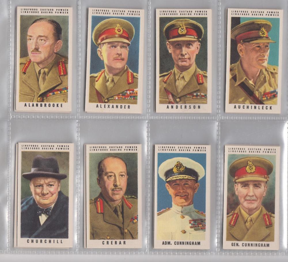Lot 253 - Trade cards, Lingford, British War Leaders, (set, 36 cards) (vg)