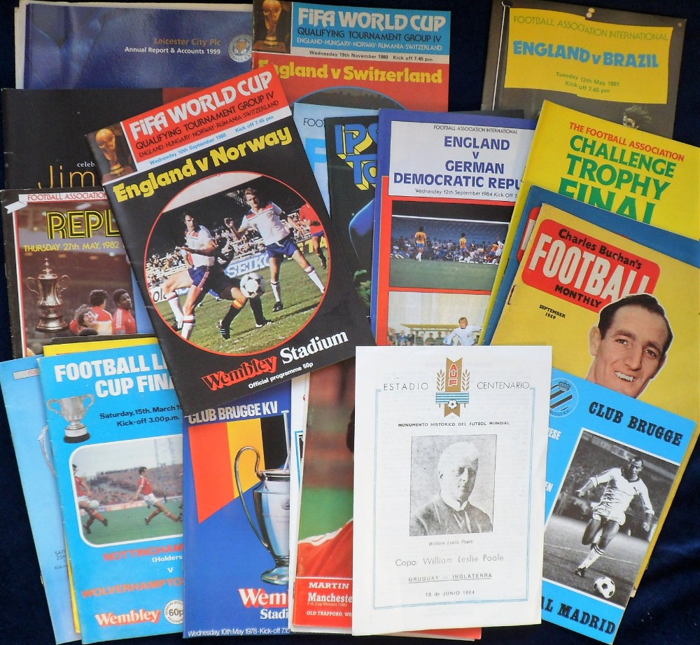 Lot 182 - Football Programmes, Big Match selection, mostly 1970s onwards, inc. Internationals, Cup Finals,
