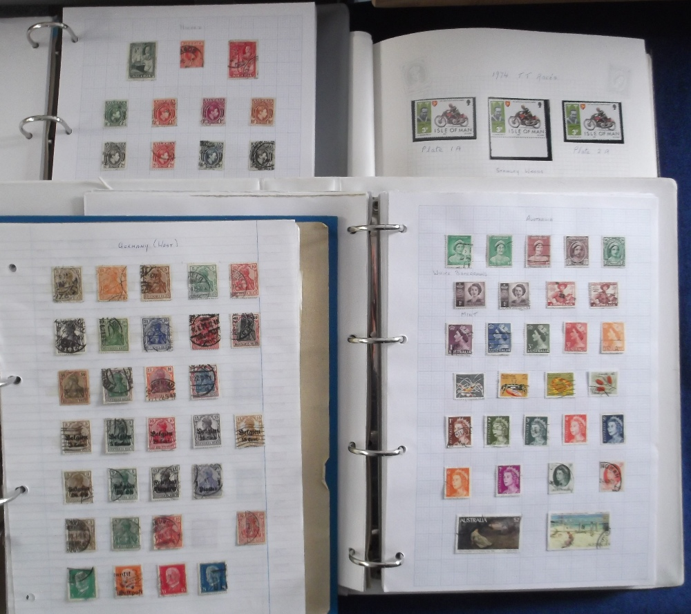 Lot 2 - Stamps, a collection of World stamps, QV onwards, mainly used in 3 folders, sold with an Isle of Man
