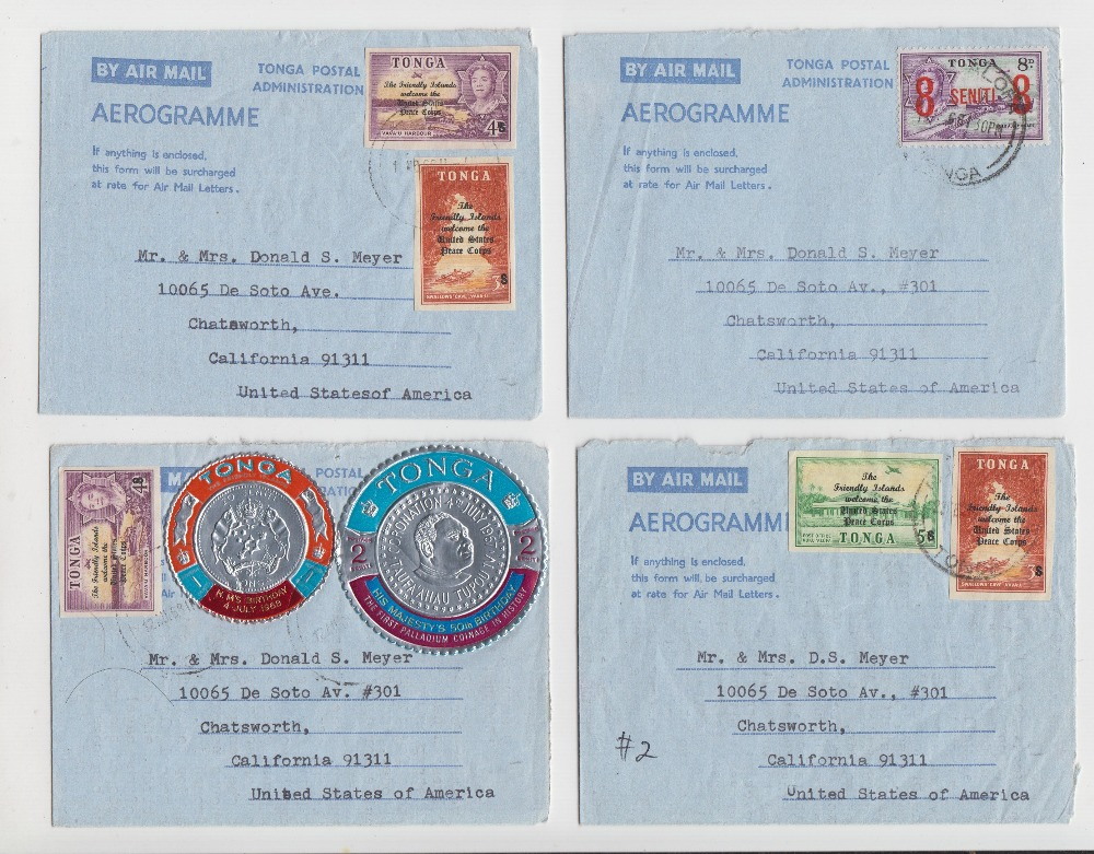 Lot 40 - Postal History, Tonga, 4 air mail letters sent from Tonga in 1968 to address in California, all with