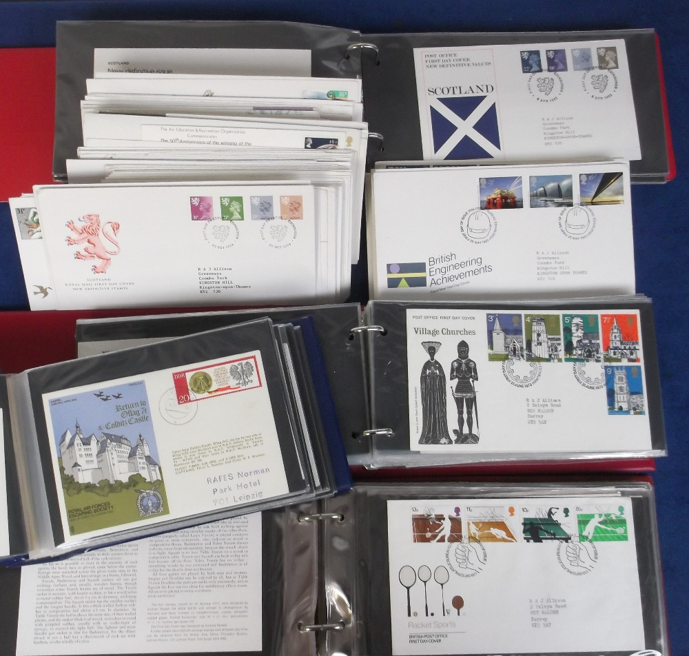 Lot 32 - First Day Covers, a collection of GB covers in 3 albums and loose, 1970/80's, mostly with typed