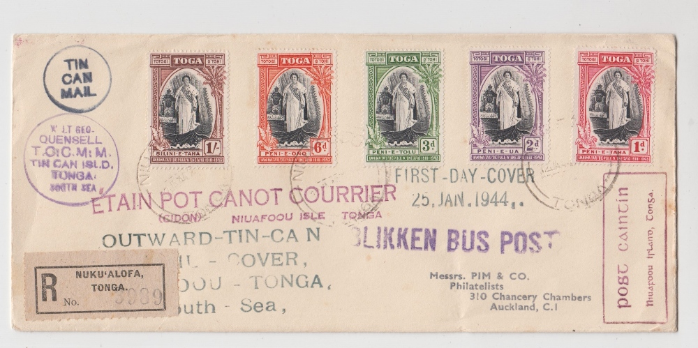 Lot 38 - Postal History, Tonga, Tin can mail postal cover sent by registered mail for First Day of issue