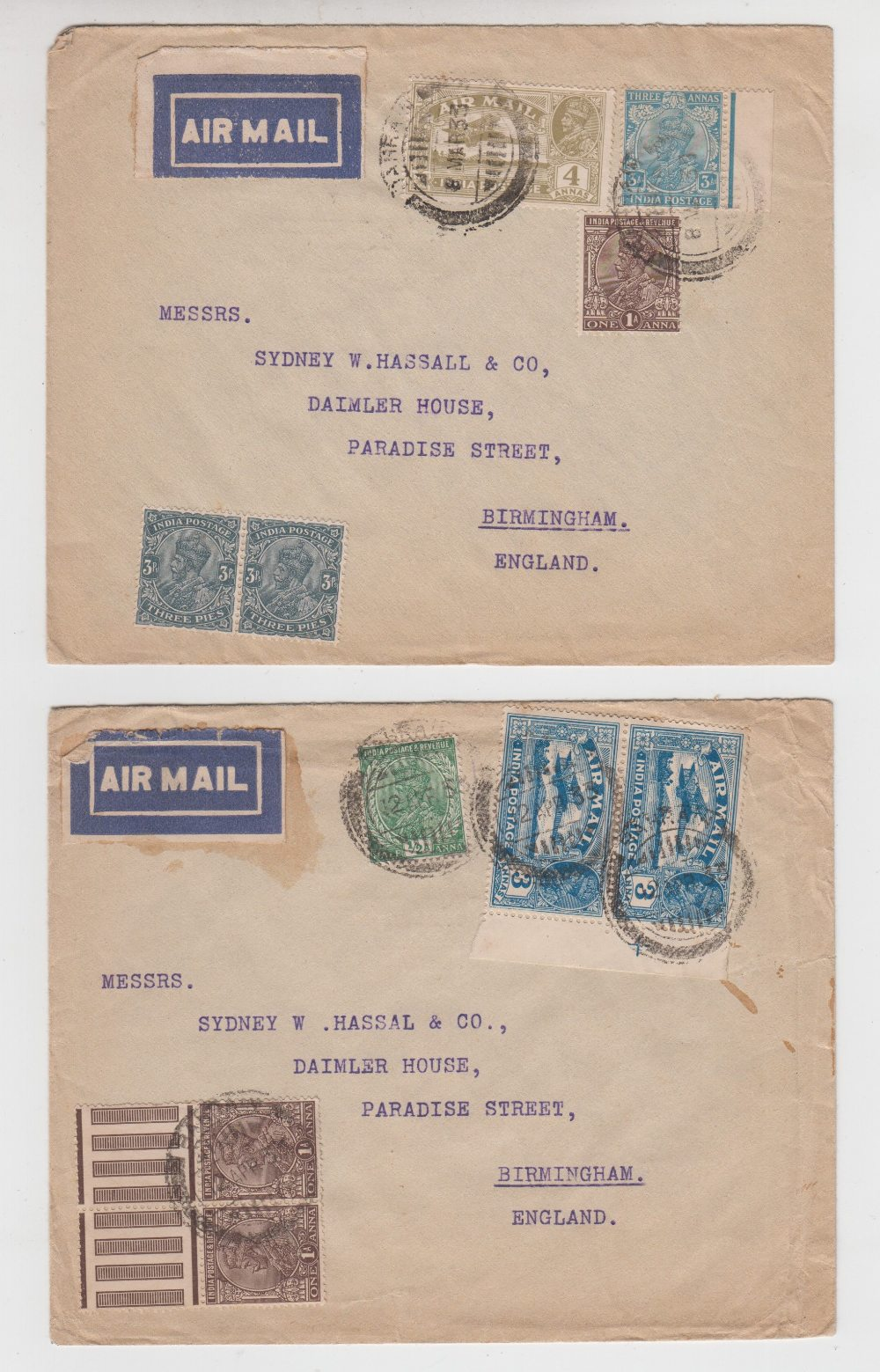 Lot 21 - Postal History, 3 postally used envelopes, 1930s, each one posted in Bahrain and sent to a UK