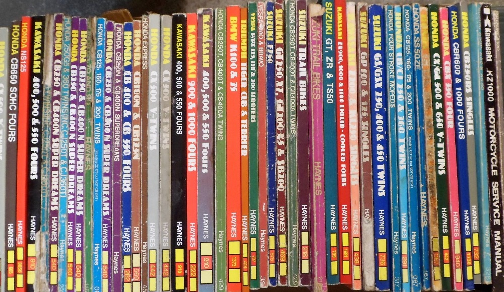 Lot 41 - Motorcycles, 45+ motorcycle related Haynes manuals from the early 1970s onwards, makes include