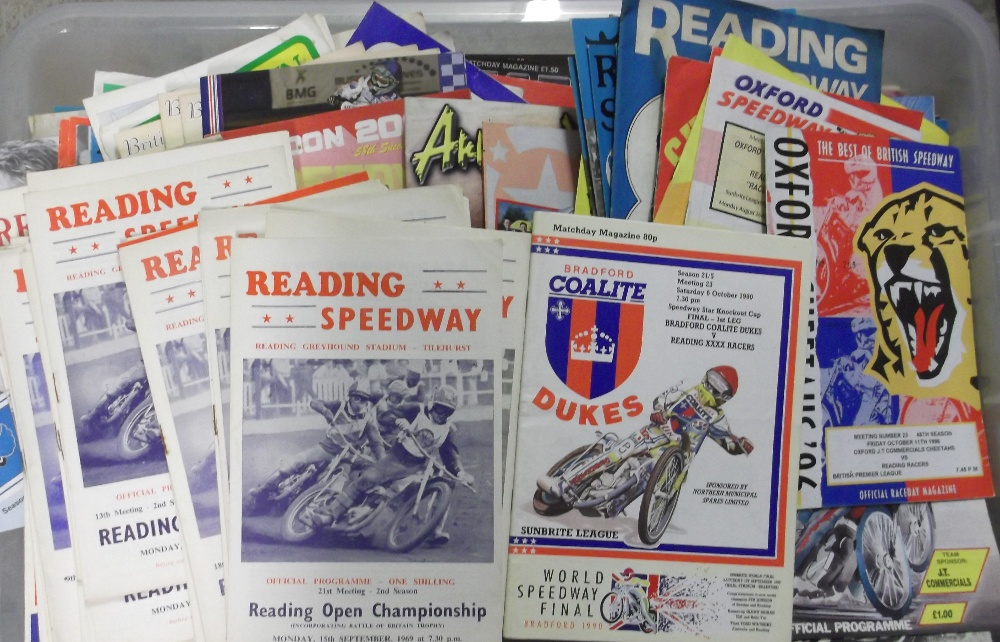Lot 15 - Speedway programmes, Reading, a large collection of home and away programmes 1970's onwards, some