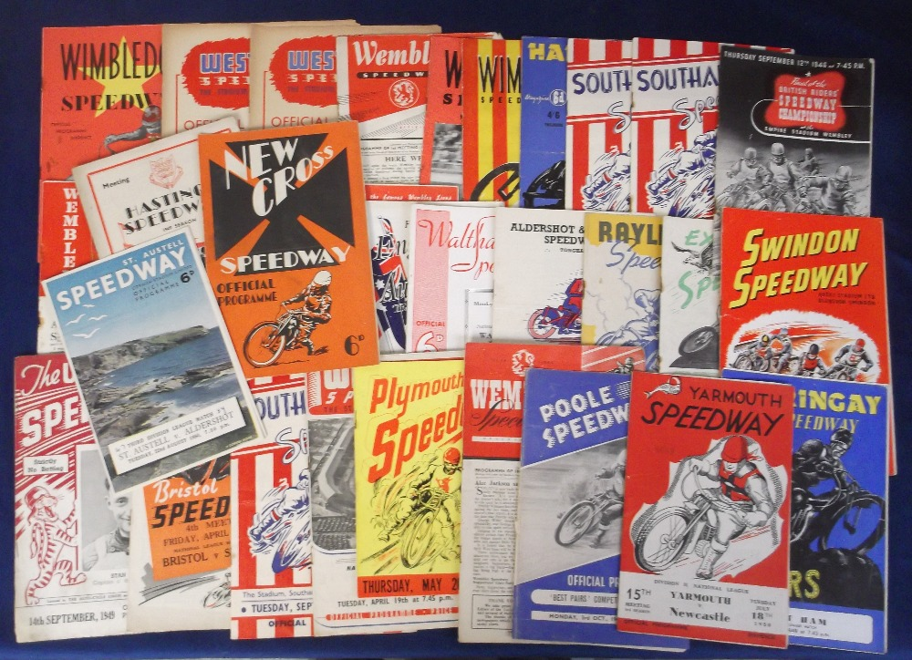 Lot 2 - Speedway programmes, a collection of 30+ programmes with dates ranging between 1946 & 1958, mostly