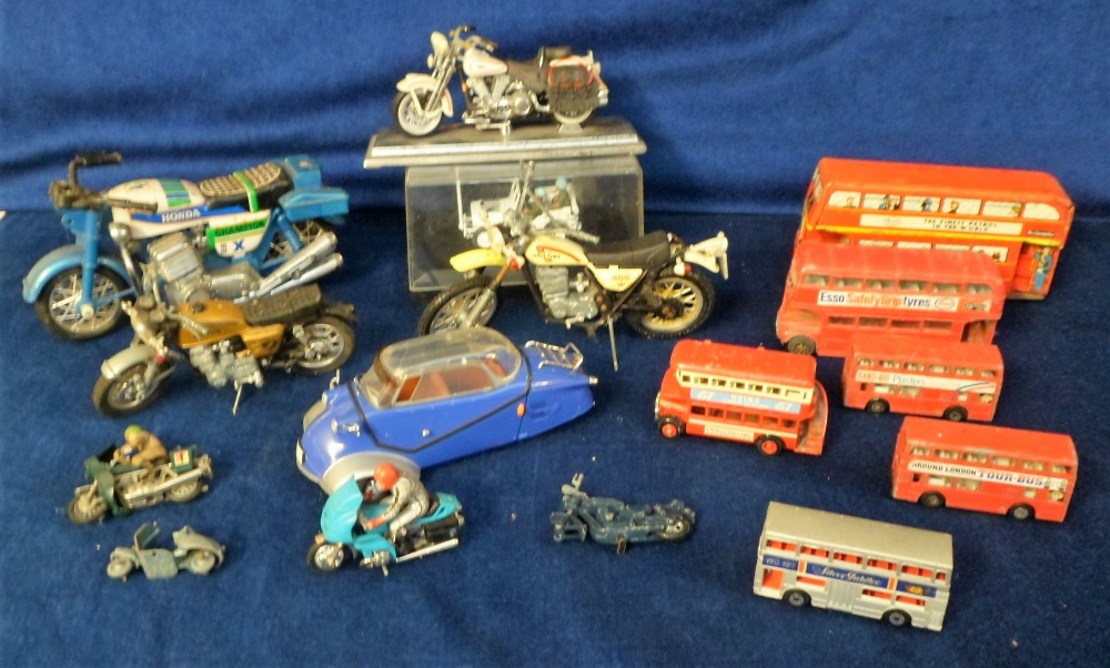 Lot 32 - Model Vehicles, 16 assorted model vehicles to include a Japanese part tin/part plastic motorbike,