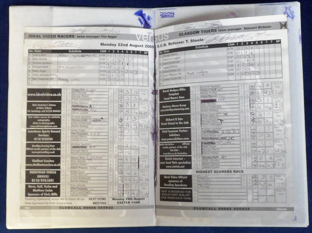 Lot 19 - Speedway, Reading Racers, Leather Race Jacket (no 3), two Reading programme boards (one with a few
