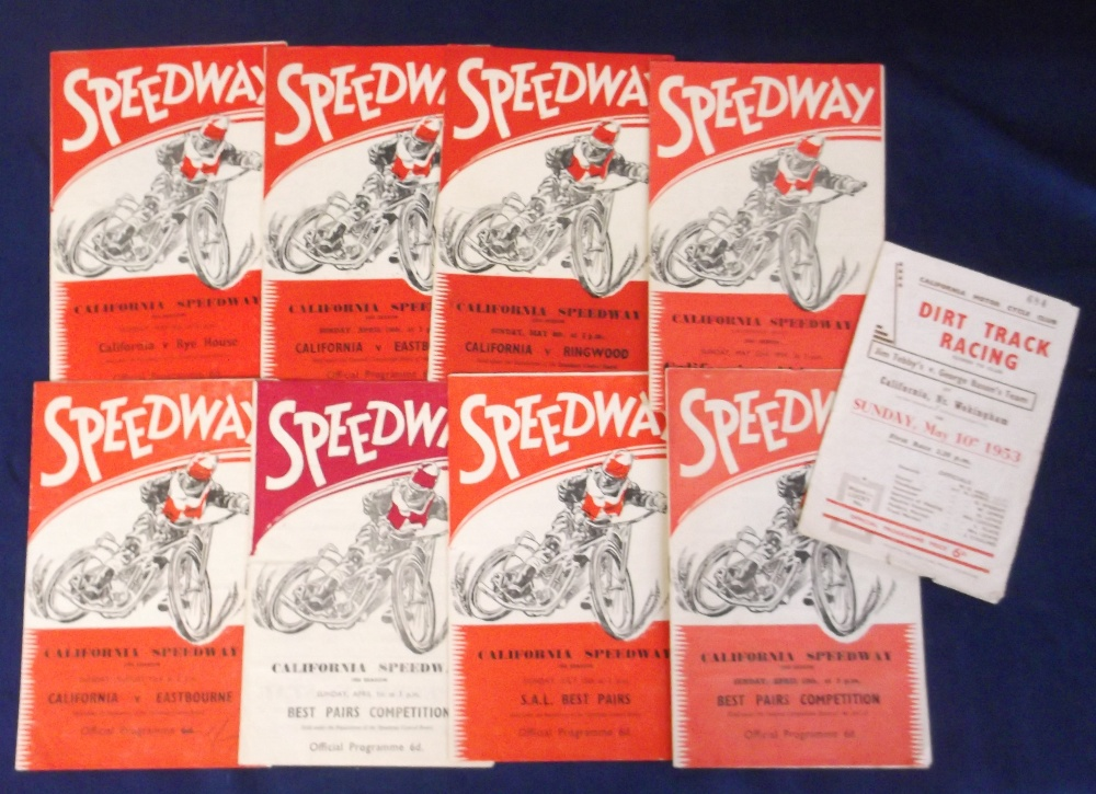 Lot 6 - Speedway programmes, California, (England), a collection of 9 programmes, 1953 (1), 1954 (1), v