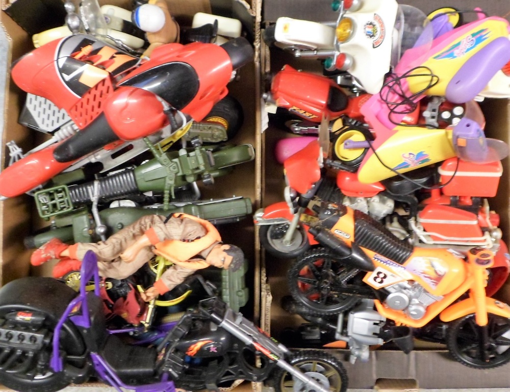 Lot 35 - Model Motorbikes, 16 large scale model motorbikes to include several Action Man bikes, also includes