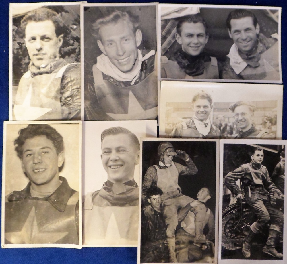 Lot 20 - Speedway, a collection of 8 postcard sized b/w photos all showing Wimbledon riders, mostly head &