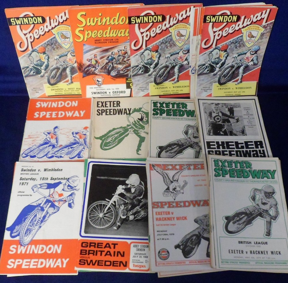 Lot 4 - Speedway programmes, a collection of Swindon (approx 40) and Exeter (40+) programmes, 1960/70's, (