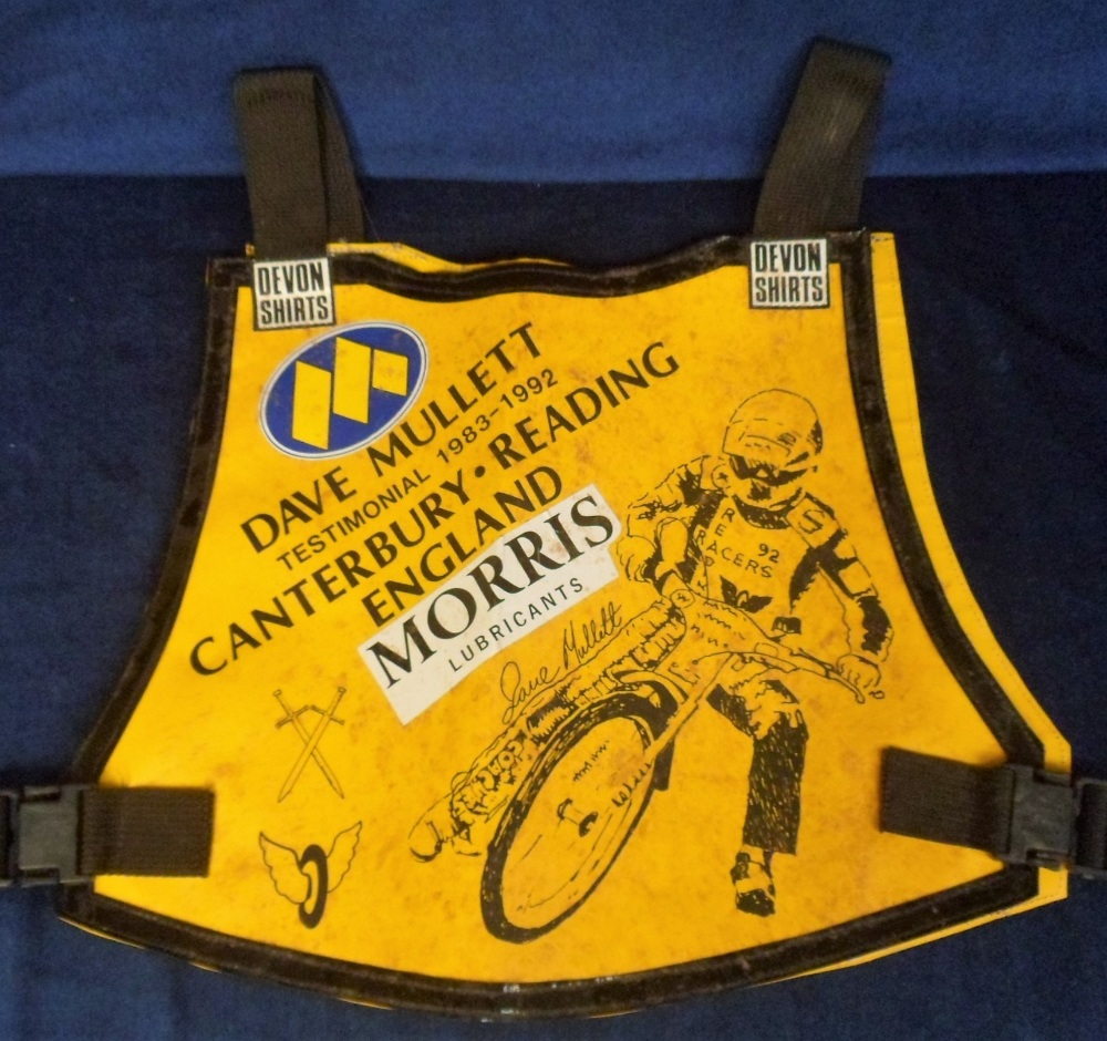 Lot 23 - Speedway, Dave Mullett, Canterbury, Reading, England, Testimonial 1983-1992 specially printed race
