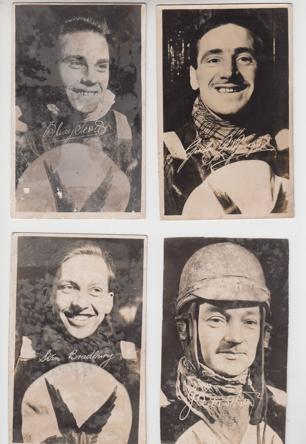 Lot 21 - Speedway, Motherwell (otherwise known as Lanarkshire Eagles) , 4 b/w postcard sized portraits from
