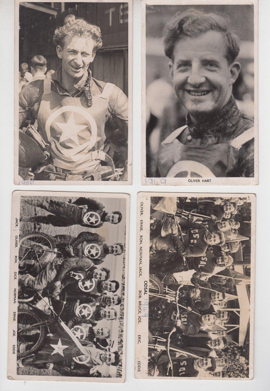 Lot 22 - Speedway photographs, 4 b/w postcard sized photos 1 showing the Odsal Boomerangs team 1949 plus 1