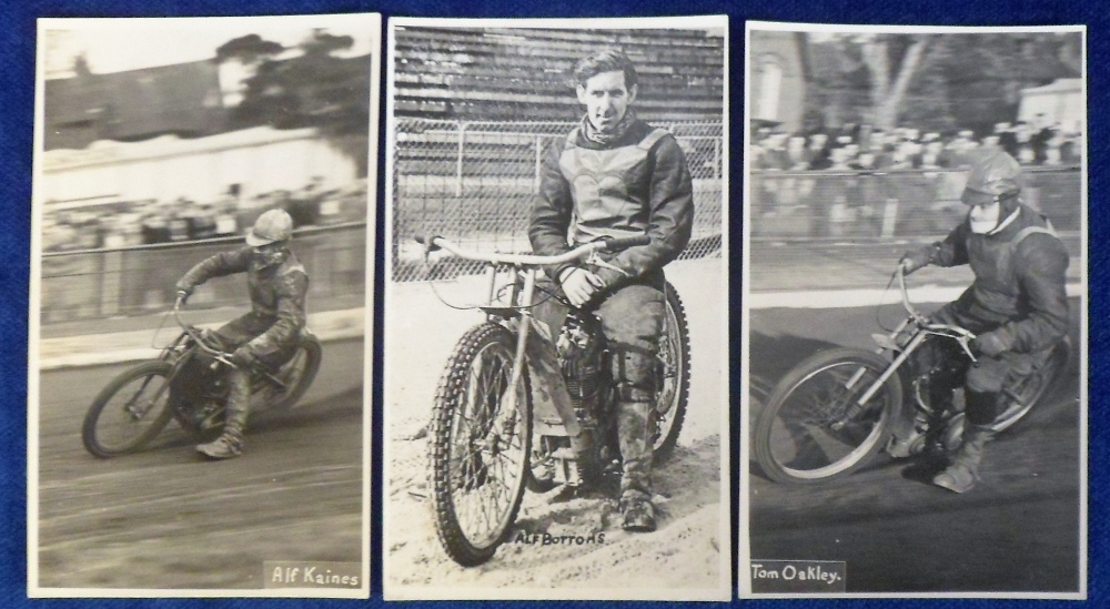 Lot 26 - Speedway, three b/w postcard size photos showing Southampton Speedway Riders, Tom Oakey (action
