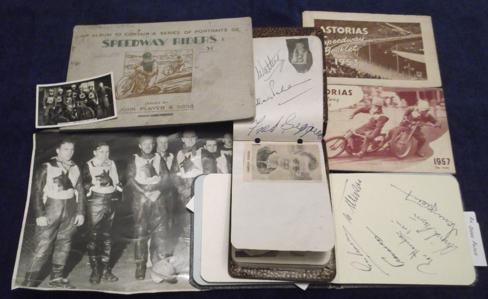 Lot 11 - Speedway, a small selection of items inc. 2 vintage autograph books containing various signatures