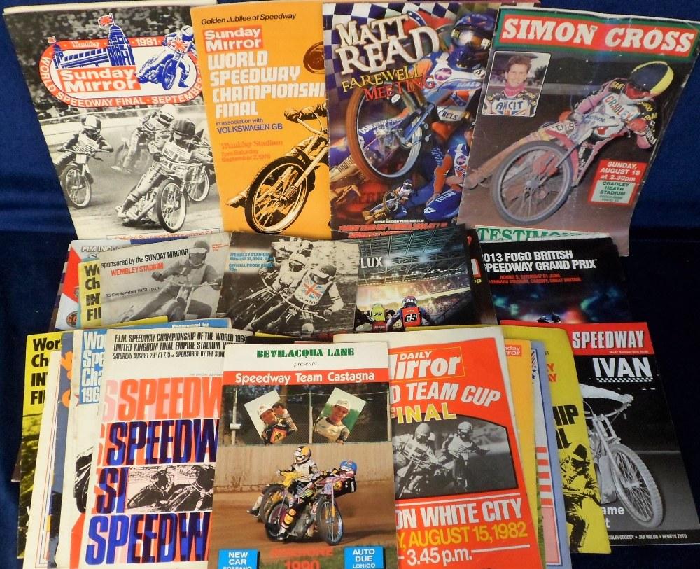 Lot 14 - Speedway programmes, a collection of 60+ Big Meeting programmes 1960's onwards inc. World Finals,
