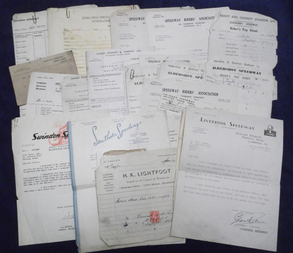 Lot 8 - Speedway ephemera, a collection of 40+ items all relating to the Rider Jack Taylor and dated from