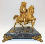 Lot 364 - Gilt bronze group modelled as a gentleman in 17th Century dress on horseback upon a square grey