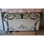 Lot 35 - Decorative console in wrought iron (32x120x118cm)