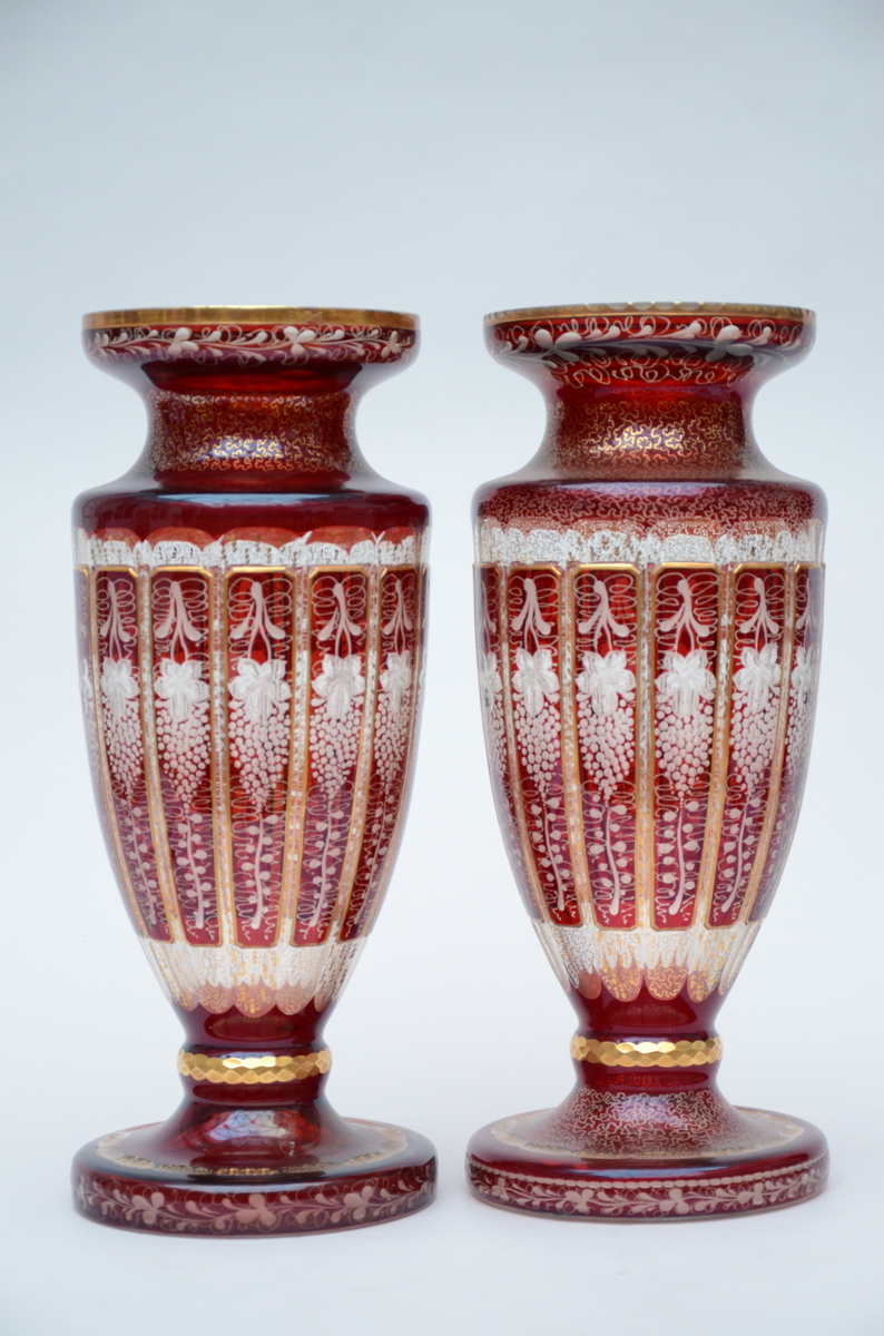 Lot 26 - A composite pair of Bohemian crystal vases (51cm)