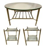 Lot 23 - A PAIR OF 20TH CENTURY BRASS AND MIRRORED GLASS TWO TIER LAMP TABLES.