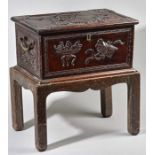 Lot 30 - AN 18TH CENTURY CHINESE CARVED ZITAN SCHOLARS BOX.
