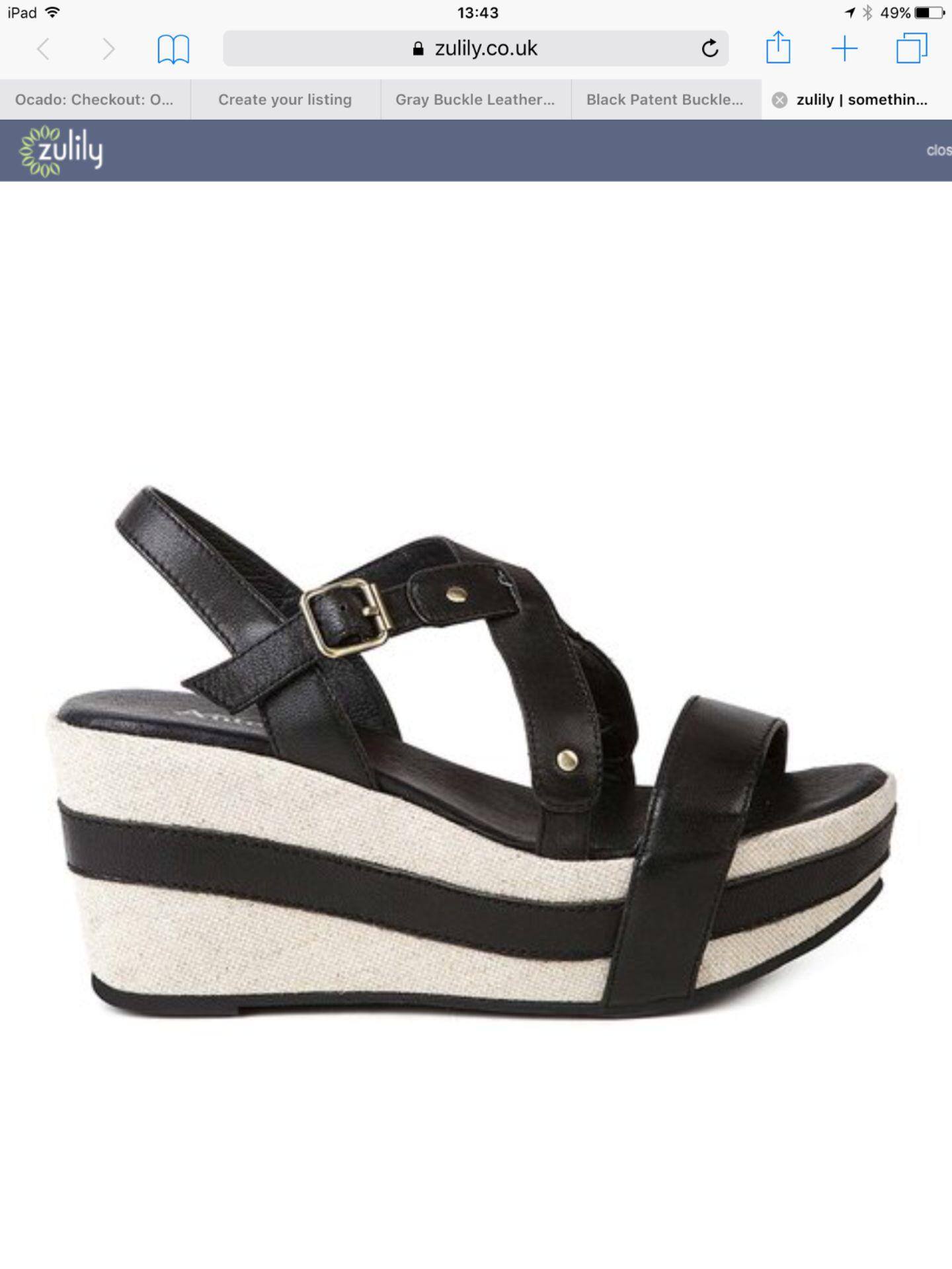 Lot 32 - Antelope Black Patent Buckle Platform Sandal, Size Eur 41 Us 10 Uk 8, Rrp £173.9 (New With Box) [
