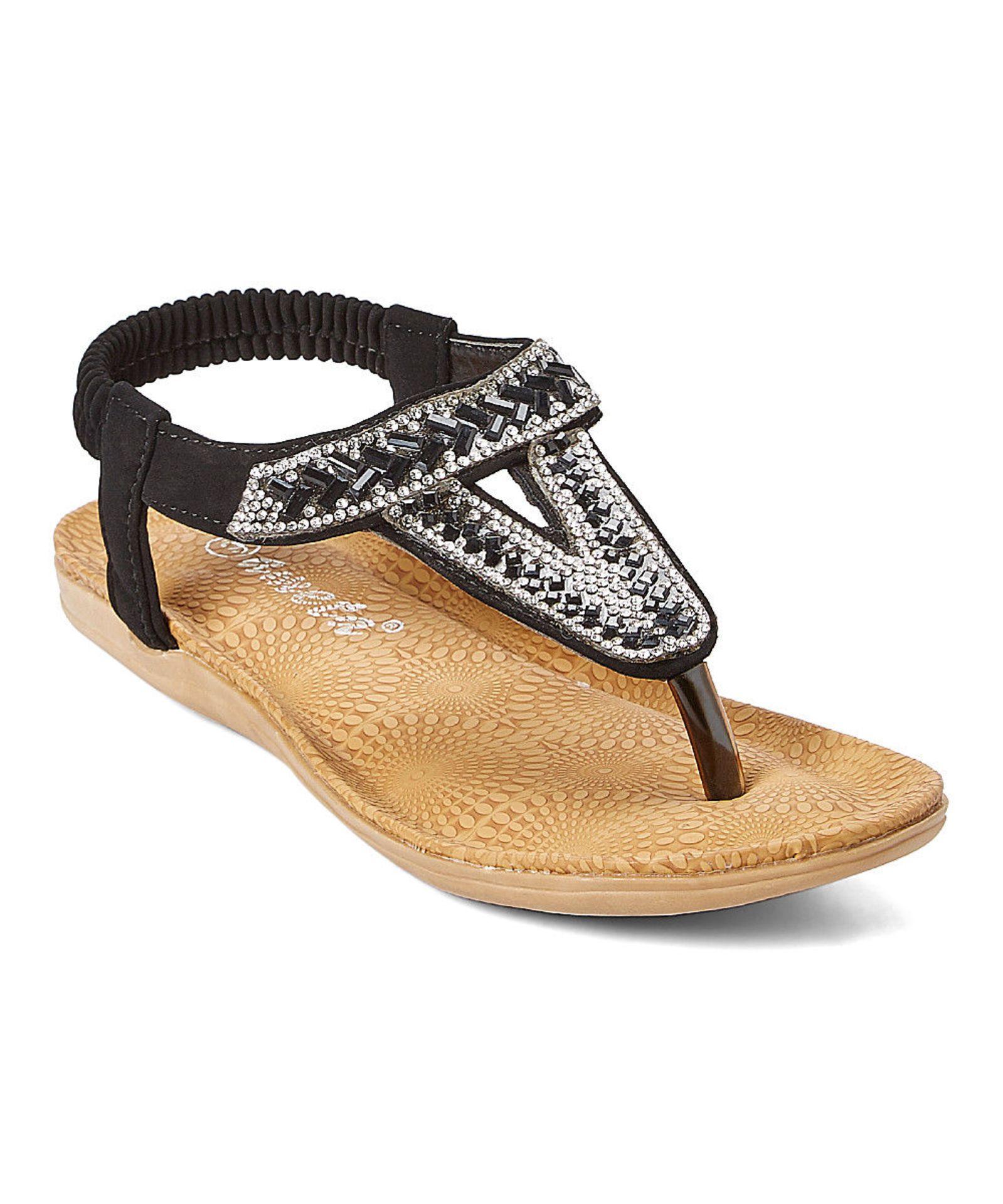 Lot 31 - Ameta Black Geometric Embellished T-Strap Sandal (Uk Size:6.5/Us Size:9) (New With Box) [Ref: